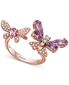 EFFY® Amethyst (1 ct. t.w.), Pink Tourmaline (3/8 ct. t.w.) & Diamond (1/4 ct. t.w.) Butterfly Cuff Ring in 14k Rose Gold