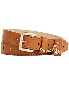 Smooth Perforated Pant Belt with Logo Ornament