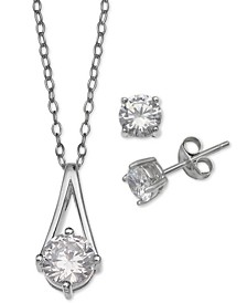 2-Pc. Set Cubic Zirconia Pendant Necklace and Stud Earrings in Sterling Silver, Created For Macy's