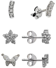 3-Pc. Cubic Zirconia Stud Earrings Set in Sterling Silver, Created For Macy's