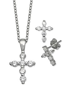 2-Pc. Set Cubic Zirconia Cross Pendant Necklace & Matching Stud Earrings in Sterling Silver, Created For Macy's