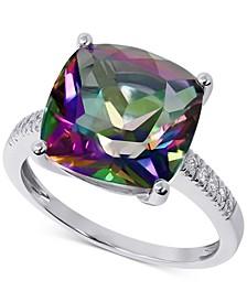 Mystic Topaz (8 ct. t.w.) & Diamond (1/20 ct. t.w.) Ring in 14k White Gold