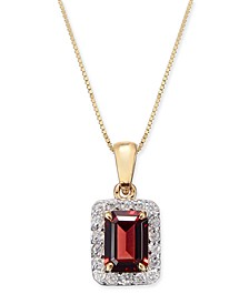 "Rhodolite Garnet (1-1/4 ct. t.w.) & Diamond (1/6 ct. t.w.) 18"" Pendant Necklace in 14k Gold"