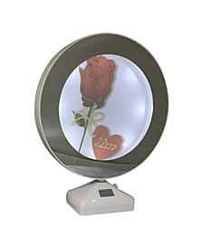"""Round Lighted Mirrored Photo Frame 6"""" and Mirror When Not Lighted - 2 In 1"""