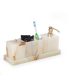 Vanity 5 Piece Marble Onyx Set with 2 Tumblers, 1 Canister with Lid, 1 Dispenser and 1 Tray