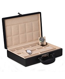 Ten Watch Storage Box Briefcase with Handle and Combination Lock
