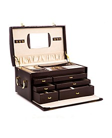 Croco Jewelry Chest with Multi Levels, 2 Removable Travel Cases, Mirror and Locking Clasps