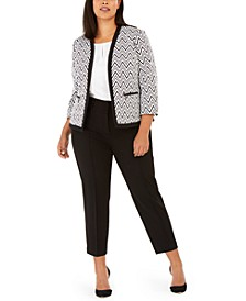 Plus Size Zig Zag Print Knit Blazer, V-Neck Blouse & Button-Detail Pants