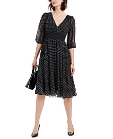 Petite Dot-Print Balloon-Sleeve Dress