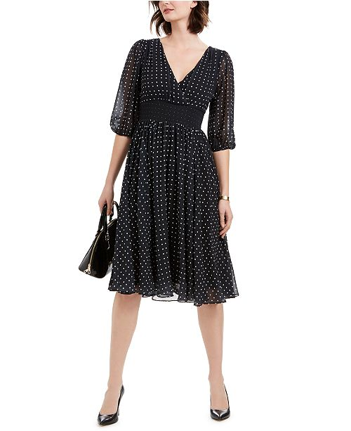 NY Collection Petite Dot-Print Balloon-Sleeve Dress