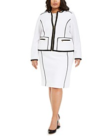 Plus Size Zip-Up Pique Jacket & Skirt