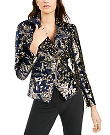 Sequined Moto Jacket