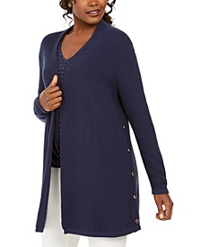 Cotton Side-Button Open-Front Cardigan, Created for Macy's