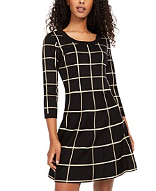 Juniors' Grid-Pattern Skater Dress