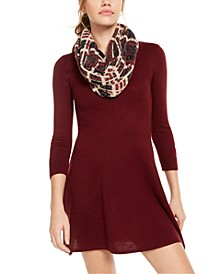 Juniors' Eyelash Scarf Sweater Dress