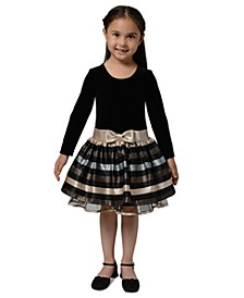 Little Girls Velvet Striped Dress