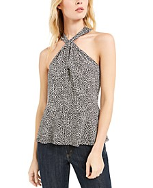 Animal-Print Twist Halter Top