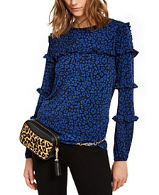 Flat Cat Printed Ruffled-Sleeve Top, Regular & Petite Sizes