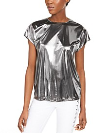 Metallic Cap-Sleeve Top