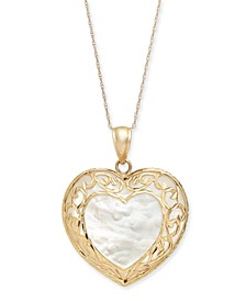 "Mother-of-Pearl Filigree Heart 18"" Pendant Necklace in 14k Gold"