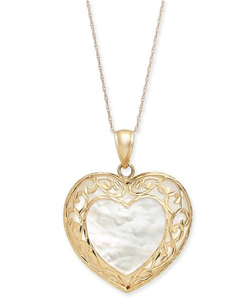 """Macy's Mother-of-Pearl Filigree Heart 18"""" Pendant Necklace in 14k Gold"""