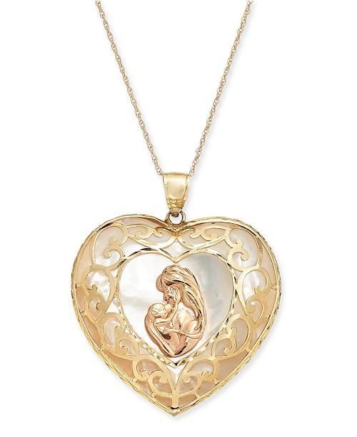 """Macy's Mother-of-Pearl Mother & Child Heart 18"""" Pendant Necklace in 14k Yellow Gold and Rose Gold"""