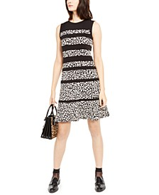 Leopard-Print Paneled Dress, Regular & Petite Sizes
