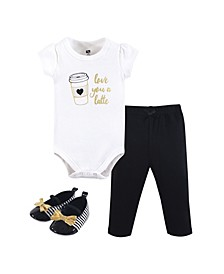 Baby Girl Bodysuit, Pants and Shoes Set