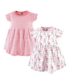 Baby Girl Cotton Dress, 2-Pack Flamingos