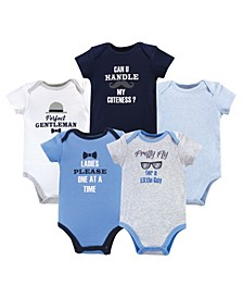 Baby Boy Cotton Bodysuits, 5-Pack
