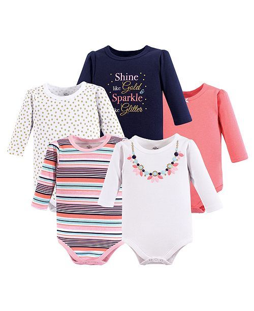 Little Treasure Baby Girl Cotton Bodysuits, 5-Pack