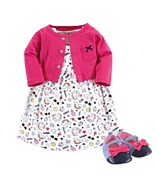Baby Girl Dress, Cardigan and Shoes Set