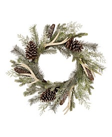 Flocked Pinecone Antler Wreath