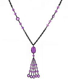 Black-Tone Tassel Necklace
