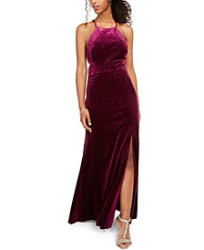 Juniors' Velvet Glitter Gown