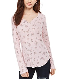 Juniors' Floral Print Pointelle Henley Top
