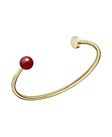 Bubbly Shiny Stainless Steel and PVD Champagne Gold Red Coral Stone Open Bangle