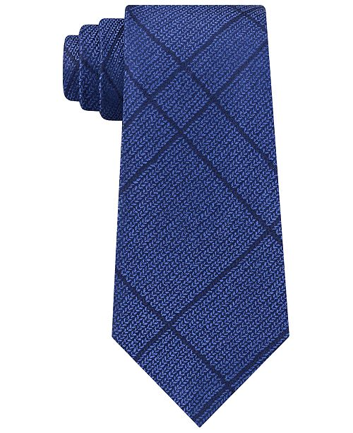 Calvin Klein Men's Slim Knit Plaid Silk Tie