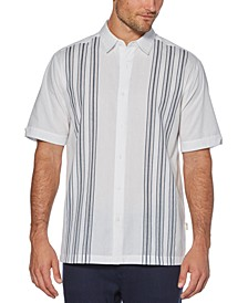 Men's Big & Tall Regular-Fit Yarn-Dyed Stripe Panel Shirt