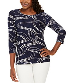 Petite Ivy Printed Jacquard Top, Created for Macy's