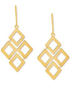 Square Link Chandelier Drop Earrings in 10k Gold