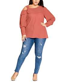Trendy Plus Size Draped Cold-Shoulder Top