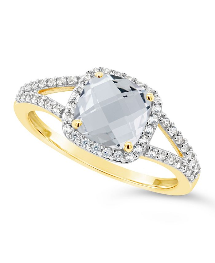Macy's - Created White Sapphire (1-3/4 ct. t.w.) and Created White Sapphire (1/4 ct. t.w.) Ring in 10k Yellow Gold