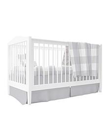 Crib Sheet,Quilted Blanket, Skirt Pillow Case Gingham Crib Set 4 Pc