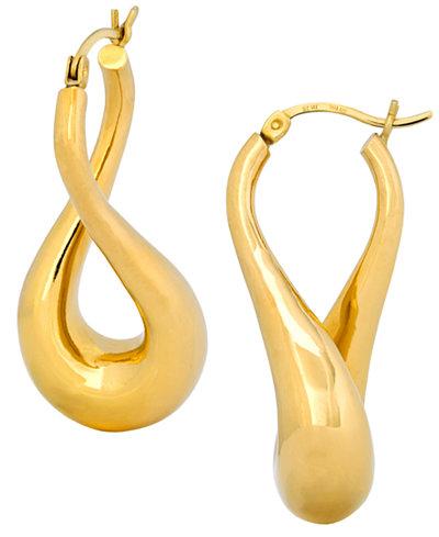 Signature Gold Twist Hoop Earrings In 14k Over Resin
