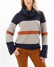 Colorblocked Funnel-Neck Sweatshirt