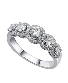 Five Stone Graduating Round Diamond (1 ct. t.w.)  Halo Ring in 14K White Gold
