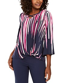 Printed Grommet-Trim Twist-Front Top, Created For Macy's