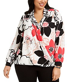 Plus Size Floral-Print Surplice Top, Created For Macy's