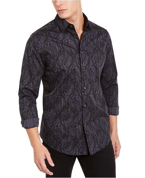 Tasso Elba Men's Stretch Paisley Stripe Shirt, Created For Macy's